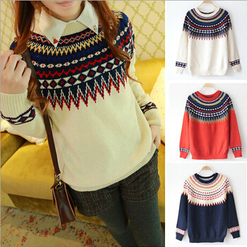 Pull Femme 2015 Autumn Winter Academy Style Striped Printed Loose Knitted Sweater Women Sweaters and Pullovers Suter Mujer JY(China (Mainland))