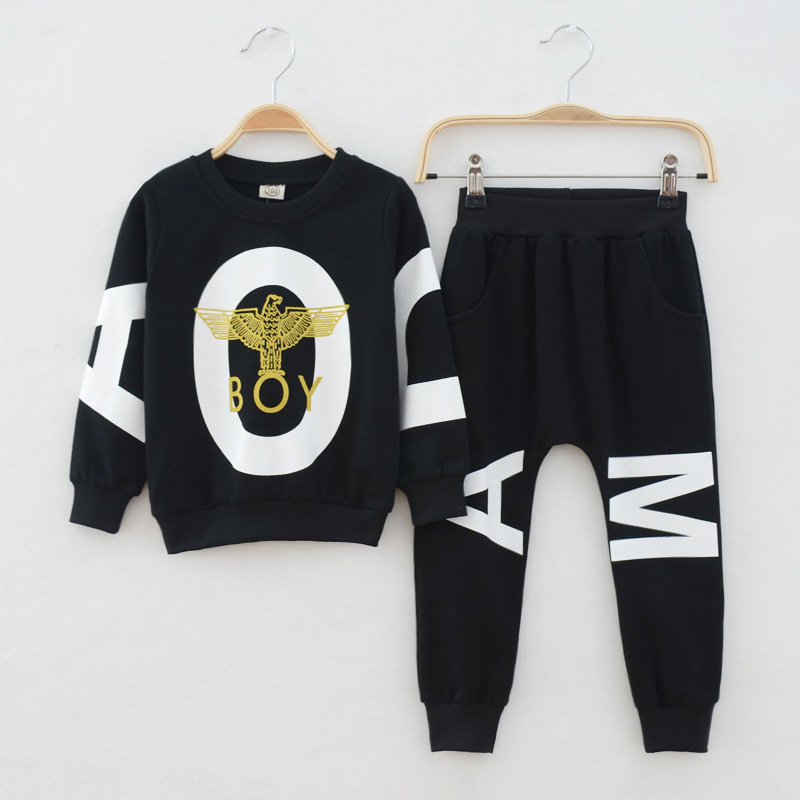 2015 New children boys clothing sets sports tracksuits clothes for boy autumn sets 2 pcs knitting long sweatshirt+ pant trunks(China (Mainland))