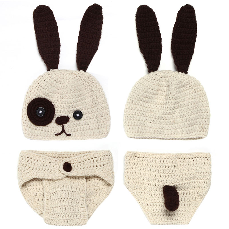 Newborn Baby Clothing Set Cute Infant 0-12 Month Knitted Rabbit Costume Soft Handmade Crochet Photography Props Photo Tools<br><br>Aliexpress