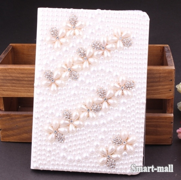 New! Luxury 3D Flower Pearl Bling Rhinestone Diamond Case Cover For iPad 2 3 4 Flip Leather Case.(China (Mainland))