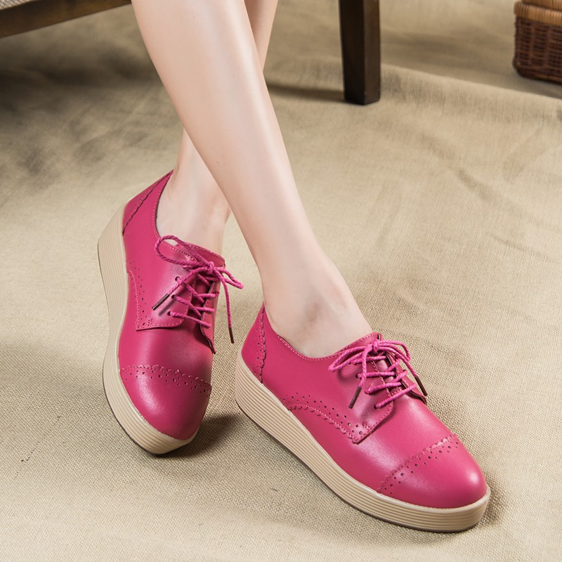 Women's Shoes Vintage Creepers Brogue Lace Up Oxfords Leather Flats Thick Soles Shoes Flat Platform Shoes Casual Loafers DNP011