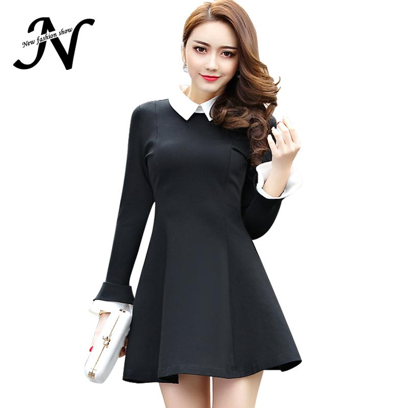 Купить Черное Платье С Белым Воротником Недорого