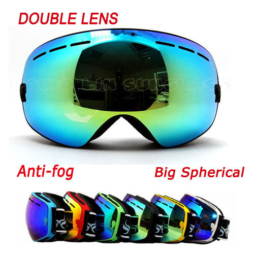 Double Layer Large Spherical Snow Goggle Spectacal compatible 100% UV Protection Anti Fog Ski Goggles Snowboard Goggles BNCA(China (Mainland))
