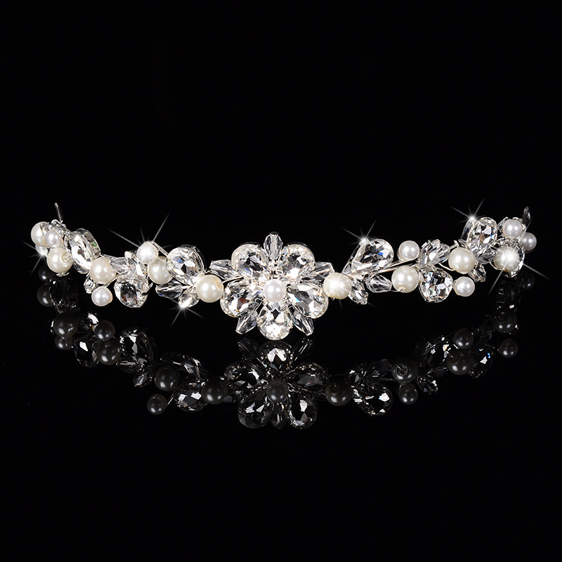 Hot New fashion clear Crystal Pearl Crown Flowers Tiara noiva Bridal Headband Diadem Wedding Hair Jewelry Dress Accessories Gift(China (Mainland))