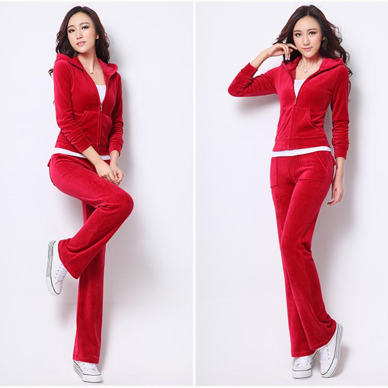 Women Winter Suits 2016 Christmas New Hoodies Women's Velour Tracksuit Set Feminino Sportsuit Plus Size Two Piece set 10 Colors(China (Mainland))