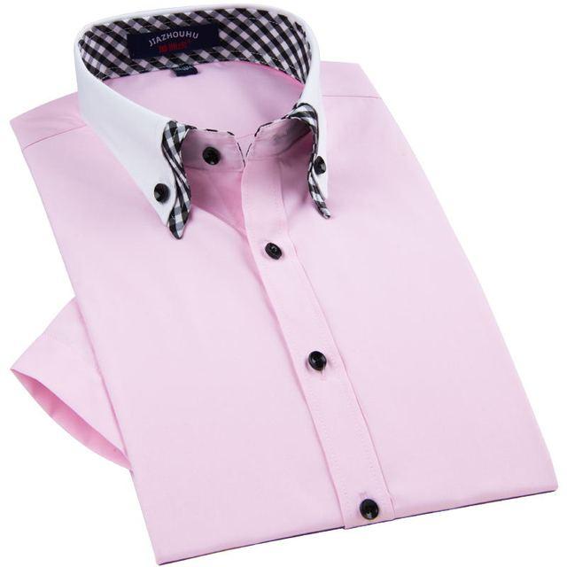 2016 весной бренд мужской короткий рукав рубашки мужчины мода двойной воротник свободного ...