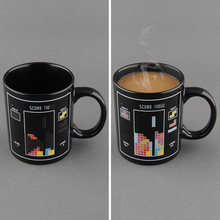 Block Pattern Magical Heat Sensitive Color Changing Ceramic Milk Mug Coffee Cup Free shippingFree Shipping