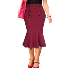 New Skirts Womens Vintage Pinup Elegant High Waist Formal Work Office Trumpet Mermaid Pencil Fitted Bodycon Midi Skirt saia jupe