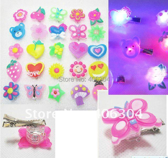 Free shipping,LED flashing hair clips,cartoon light hair pin ,party suppliers, suitable for party ,performance ,christmas(China (Mainland))