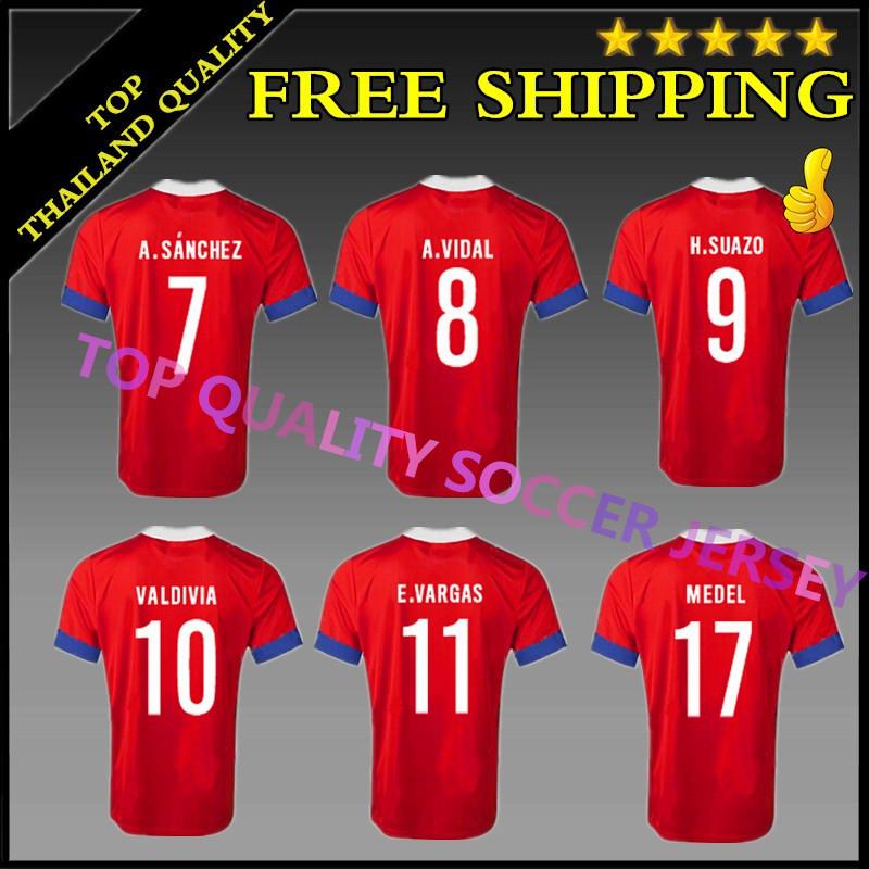 2015 2016 Chile jersey 15 16 CONMEBOL Chile home red soccer jersey ALEXIS SANCHEZ VIDAL Custom name VARGAS SUAZO MEDEL VALDIVIA(China (Mainland))