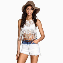 crop womens tank camisole top cropped tops crops for summer fashion tanks women set tassel white lace haut femme sexy 2016 vest