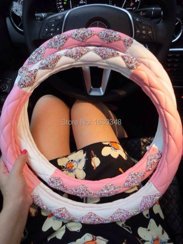 Glitter Real Leather Steering Wheel Cover Car Accessories Bling Rhinestone Leather Steering