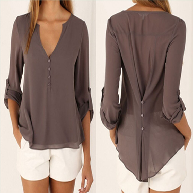 Sexy V Neck Long Sleeve Shirts Women 2016 New Brand Summer Casual Chiffon Blouses Ladies Plus Size Tops(China (Mainland))