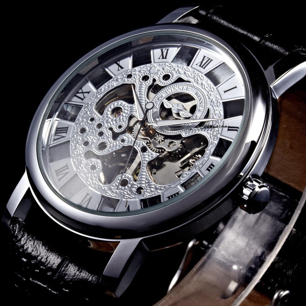 WINNER Brand Skeleton Mechanical Hand Wind Wristwatch Roman Number Clock Stainless Steel Men Leather Strap Fashion Casual Watch<br><br>Aliexpress
