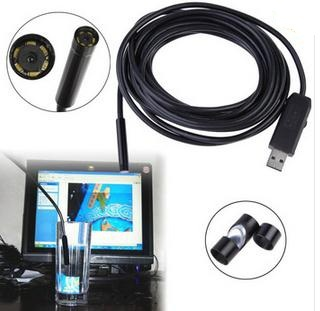 2015 HOT SALE! 5M Cable 7mm Lens USB Endoscope 6 LED Waterproof Camera Endoscope Mini Camera Mirror(China (Mainland))