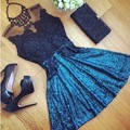 2017 Women Sexy Lace Hollow Dress Summer Style Perspective Dresses O neck Casual Vestidos fashion Dress