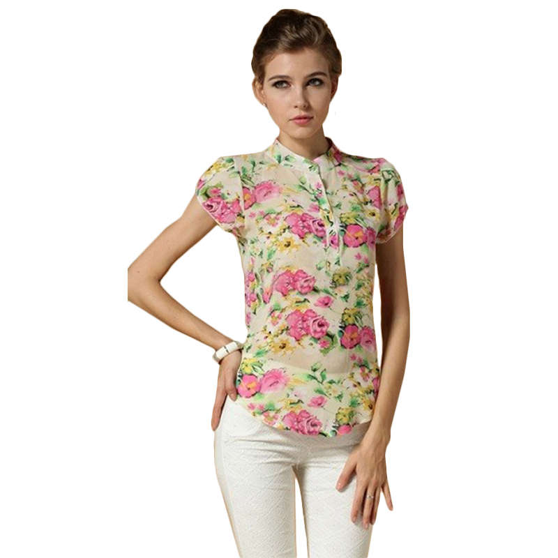 Spring 2015 New Women's clothing print Blouses chiffon Slim Casual Ladies Shirts Short-Sleeve Floral 3 Colors plus size BS01Y - MISS V store