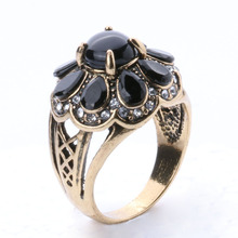 Vintage Look Fashion Jewelry Turquoise Rings For Women Tibetan Silver Alloy  Plating Ancient Bronze Black Flowers Ring