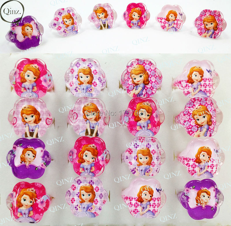 Wholesale Lots 20pcs Lovely Mix Resin Lucite Cartoon Girls Sofia Children Rings Birthday Christmas Gift Jewelry Shop(China (Mainland))