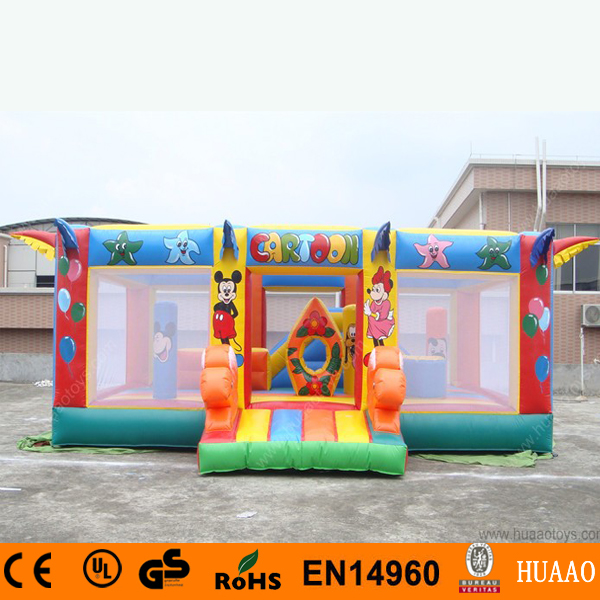 Cartoon Obstacle Inflatable Bouncy Castle With Slide And Pool With Free Ce Blower In Inflatable