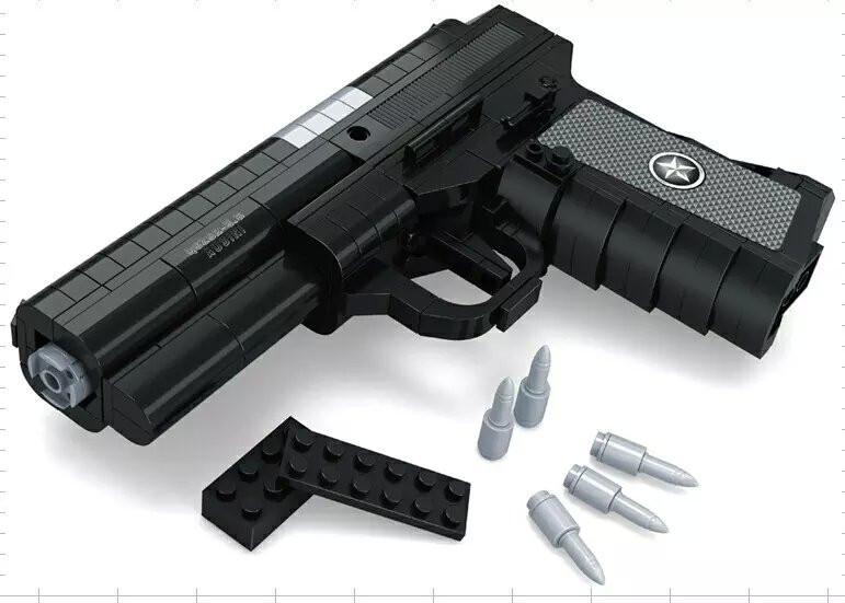 QSZ92 Semiautomatic Pistol Arms Model 1:1 3D 327pcs  Black Model Brick Gun Building Block Set Toy Compatible With Lego<br><br>Aliexpress