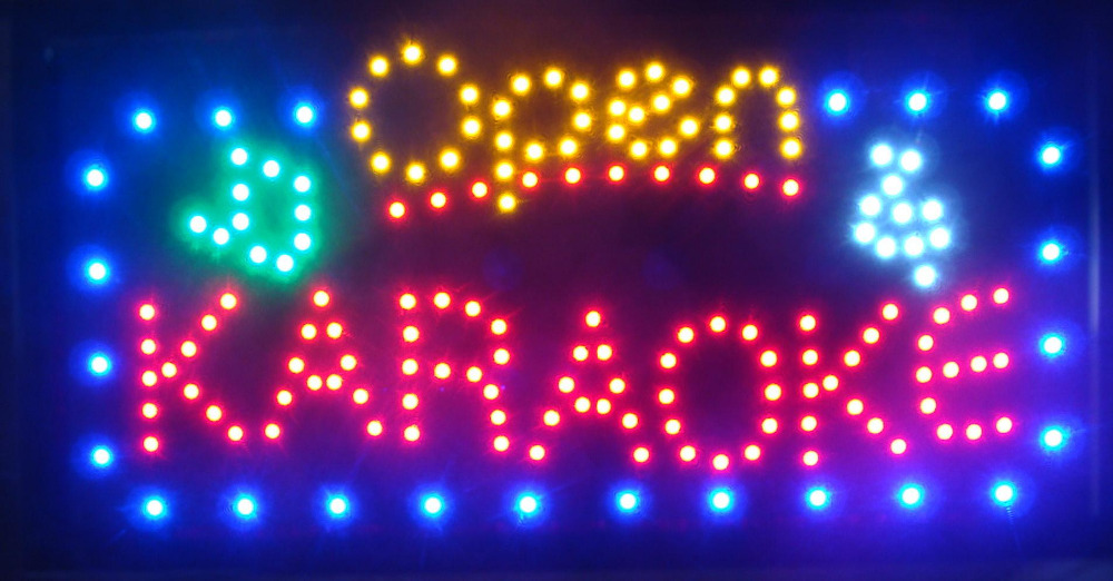 new arrival running LED Neon Light sign Led Karaoke shop open Signs 15.5X27.5 inch(China (Mainland))