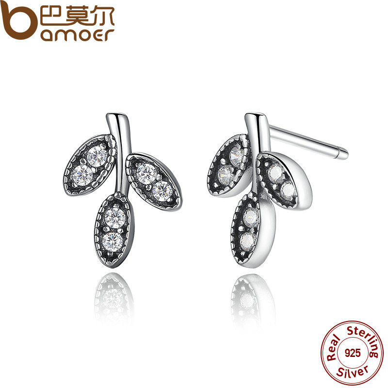 BAMOER Presents 925 Sterling Silver Sparkling Leaves Stud Earrings Clear CZ Fashion Jewelry Special Store PAS416