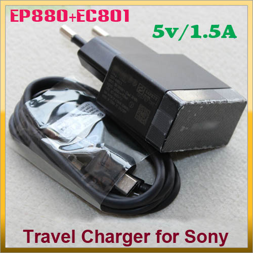EP880+EC801 EU Euro Mains Wall Travel Charger With USB Cable For Sony Xperia J T E T Z SP Ray Pro Play T Neo Arc S