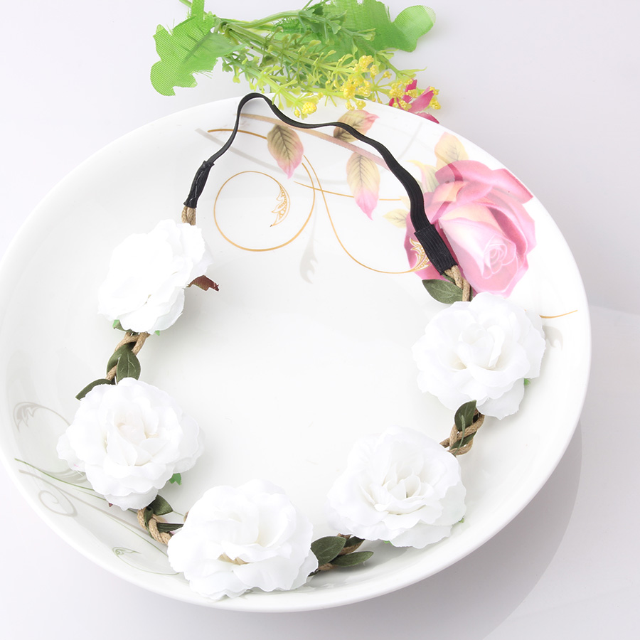 New Peony Flowers Headband Women Hair Accessories Floral Hair Wreath Beach Festival Wedding Bride Elastic Sweet Headband(China (Mainland))