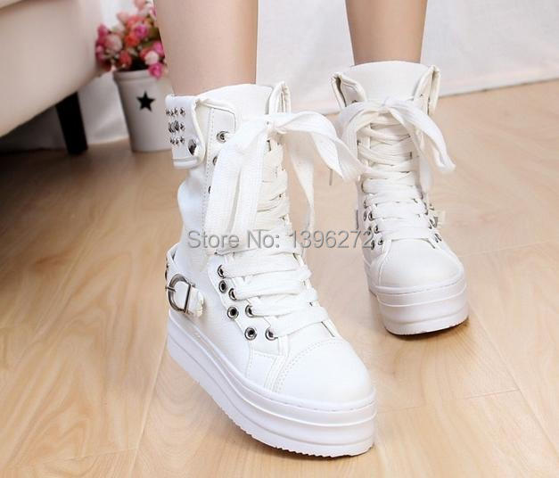 The 2014 fall thick sponge bottom bottom rivet high help canvas shoes Female sports shoes students(China (Mainland))