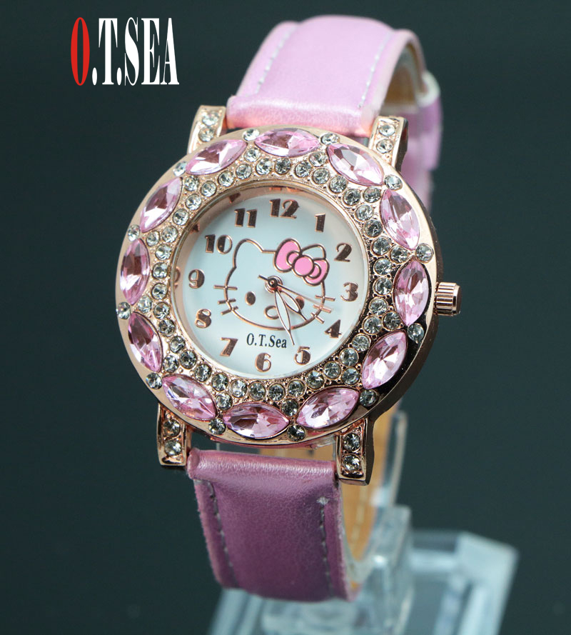 Hot Sales Fashion O .T .SEA Brand Cute Hello Kitty Watches Childlren Girl Women Crystal Quartz Dress Wristwatches 048-27(China (Mainland))