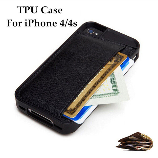 Luxury Fashion Phone Case For iPhone 4 4S TPU Cover With Card Holder Design Mobile Phone Bags Case Covers For Apple iPhone4 4 S(China (Mainland))