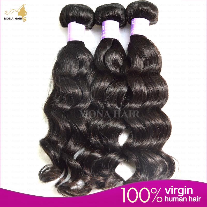 filipino virgin 3pcs free shipping star hair loose waves natural color 1b no chemical process filipino virgin hair