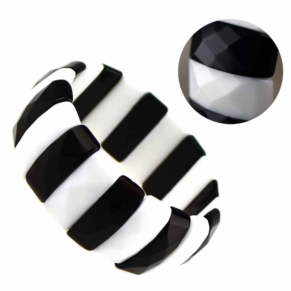 Free Shipping Fashion Jasper Faceted Arch Shape Black & White Jasper Adjustable Elastic Bracelet(China (Mainland))