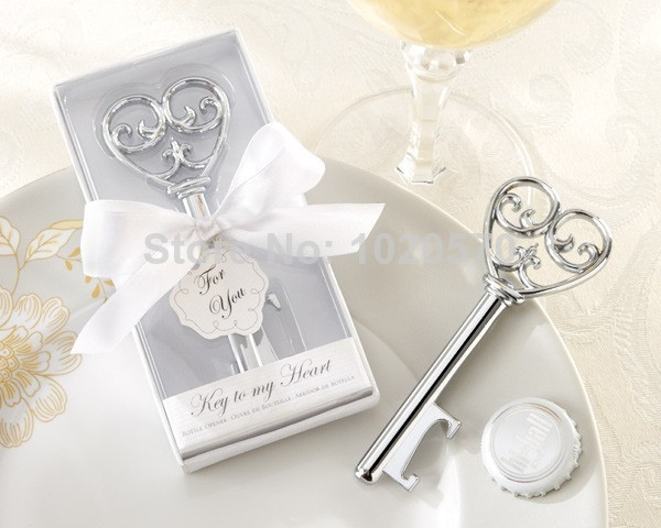 New arrival 200PCS/LOT Wedding favors of Simply Elegant Key To My Heart Bottle Opener Wedding Shower Party Favor Free shipping(China (Mainland))