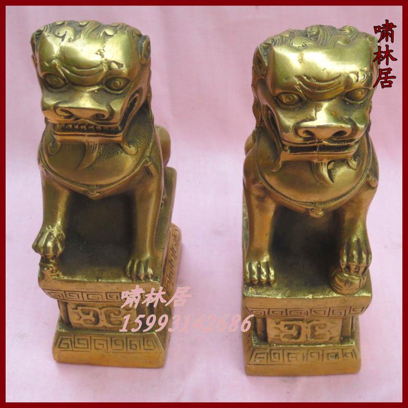 Creative furnishings Copper beijing lions apotropaic pure copper beijing lions home a pair(China (Mainland))
