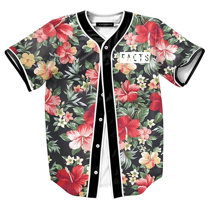 New Arrival Women/Men Coat Short Sleeve 3D Print Baseball Uniform Florals Printing Outer Plus Size M-3XL Drop Shipping Sye-1056(China (Mainland))