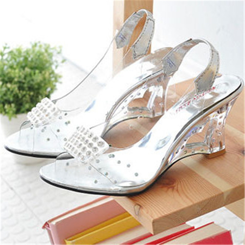 Fashion Size 34-43 Summer Crystal Flower Rhinestone Open Peep Toe Wedges Sandals Transparent Women Platform Pumps(China (Mainland))