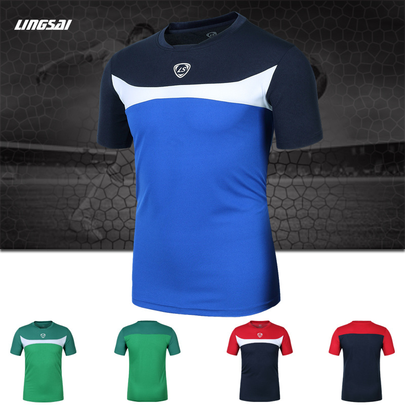 2015 new sports t shirts men polyester dry quick slim fit
