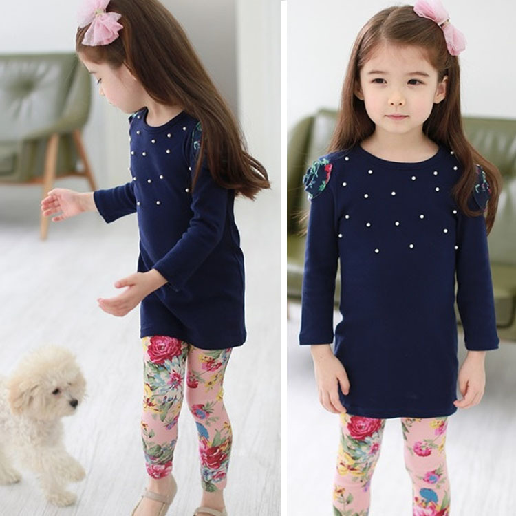 Children's new girl spring small suit for children children flowers Leggings two piece suit of children(China (Mainland))