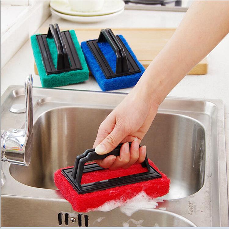 Kitchen decontamination with handle sponge bottom cleaning brush sponge eraser Magic Eraser bath brush nano ceramic tile(China (Mainland))