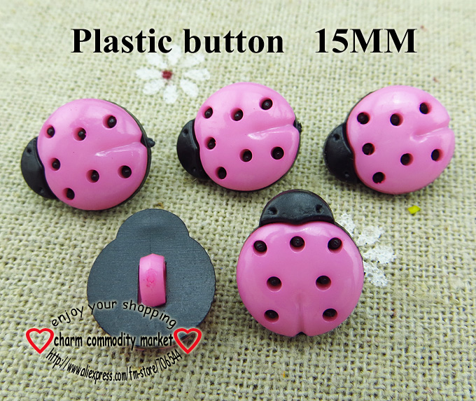 15MM pink Dyed Plastic Ladybird buttons 1000PCS coat boots sewing clothes accessories 6-122-P
