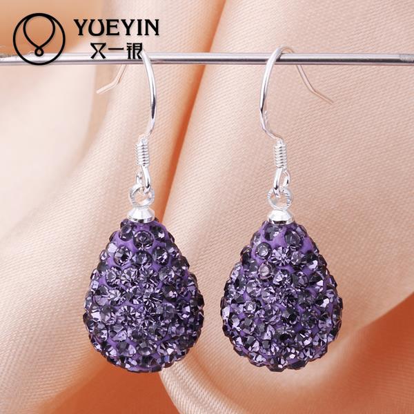 E097 Hot Sale Shamballa Rhinestone Earrings Long, Bohemian Earrings Beaded Jewelry Female Costume Accessories Party Gift(China (Mainland))
