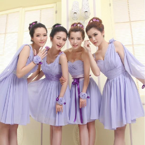 Purple Bridesmaid Dresses Sweetheart Chiffon Short Formal Wedding Party Bridesmaid Gown Lavender Bridesmaid Dress For 2014(China (Mainland))