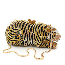 2015 High Class Women Luxury Crystal Clutch Bag Tiger Shape Evening Clutch Purse Party Bag Hanbag