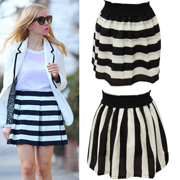 Free Shipping New Arrivals Fashion Brand Black And White Striped Navy Skirt Plus Size Cheap School Tutu Full Skirts(China (Mainland))