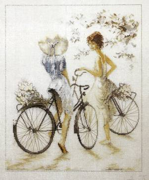 Bicycle and girl 14CT counted Craft Home DMC DIY Cross Stitch Needlework Factory Direct hand Embroidery Kit set needle art(China (Mainland))