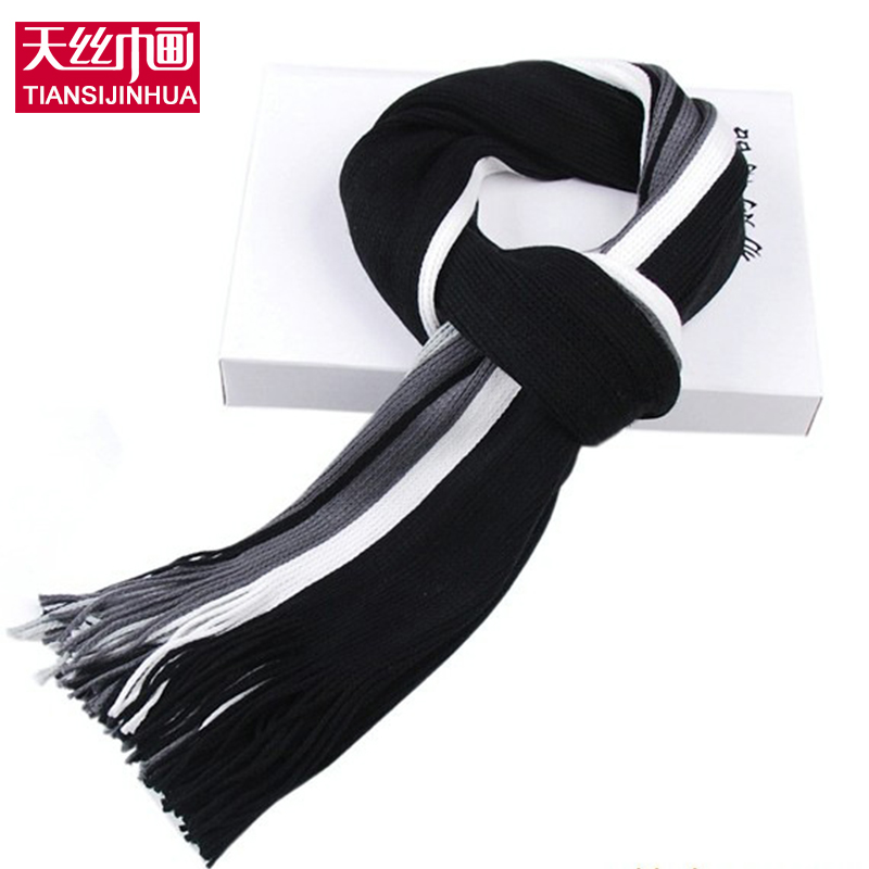 Winter designer scarf men striped cotton scarf female & male brand shawl wrap knit cashmere bufandas Striped scarf with tassels(China (Mainland))