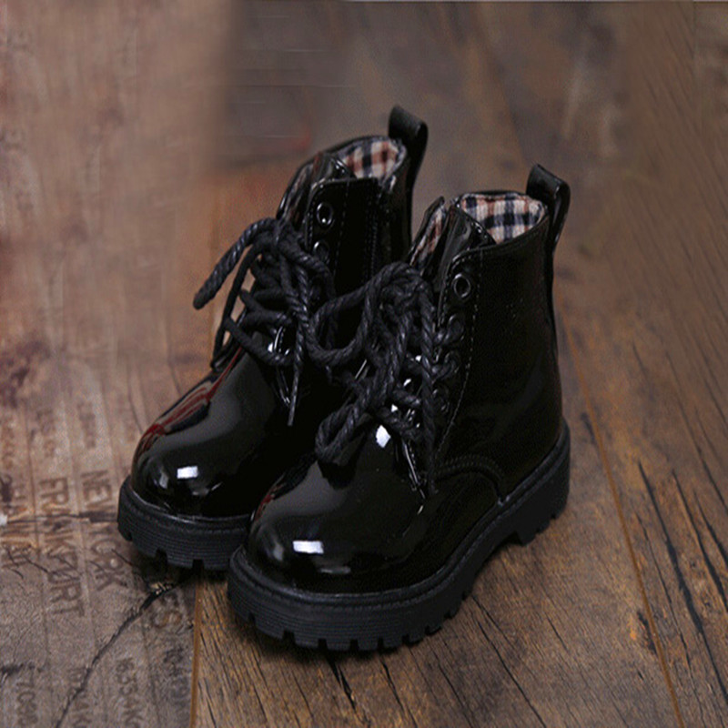 2016 New Leather Boots Girl Spring Girls Short Baby Toddler Girl Boots Cotton Kids Shoes Black White Short Boots 5 Color(China (Mainland))