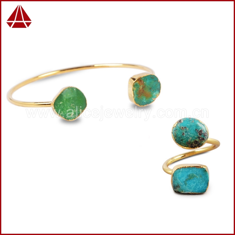 Vintage Turquoise Jewelry Set 100% Natural Turquoise Ring & Bangles 24K Gold Plated Natural Turquoise Jewelry Sets S002(China (Mainland))